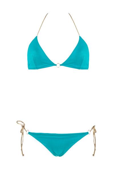 bikini beliza CLAUDIA triangle bleu ficelles croco