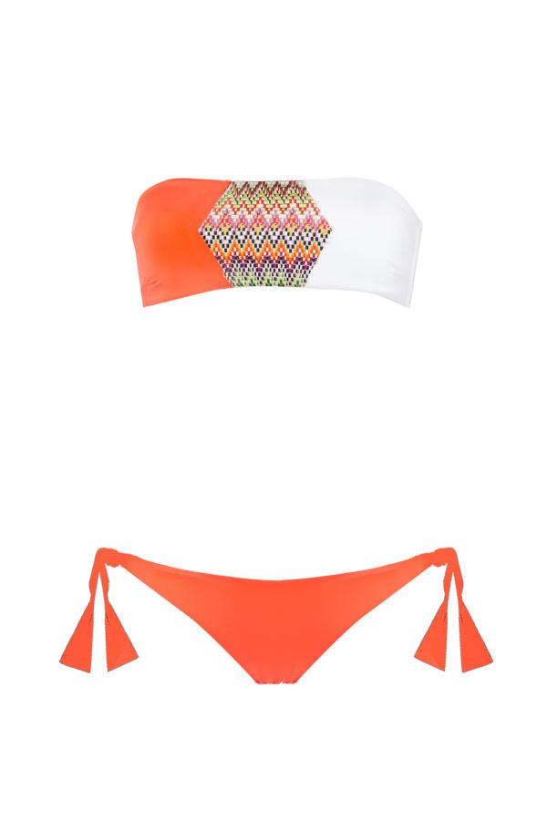 bikini Beliza GIULIA bandeau orange blanc aztek calvi
