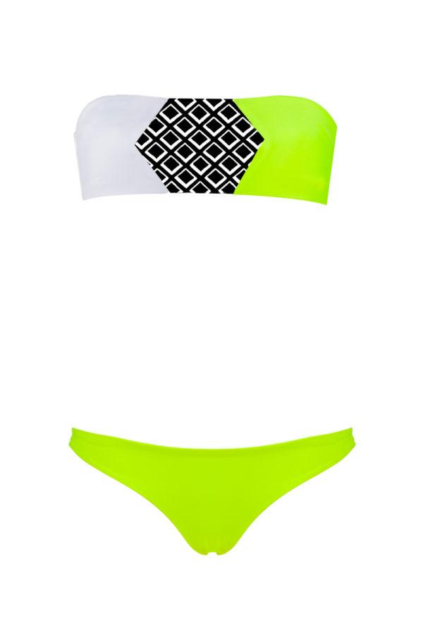 Bikini Beliza GIULIA bandeau blanc jaune motif grafik
