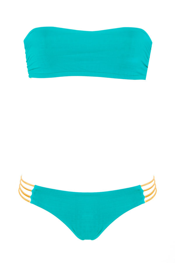 bikini Beliza JANE bandeau ficelles turquoise doré