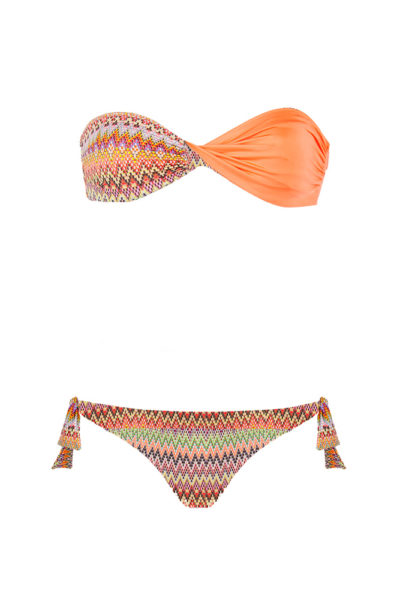 bikini Beliza JULIE bandeau réversible orange aztek