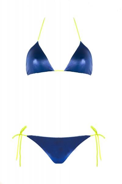 Bikini Beliza KATE triangle ficelles cobalt yellow fluo