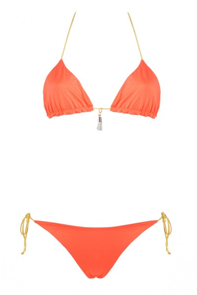 Bikini Beliza KATE triangle orange ficelles or fanta gold