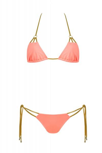 Bikini Beliza KATIA triangle ficelles or corail