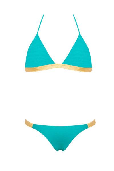 Bikini Beliza LISA triangle bleu doré croco