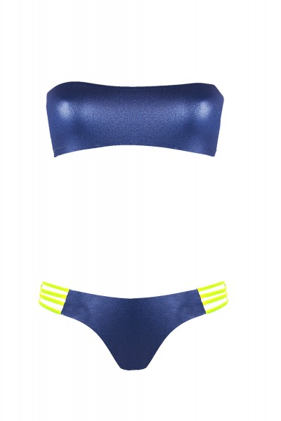 bikini Beliza JANE bandeau ficelles bleu jaune fluo