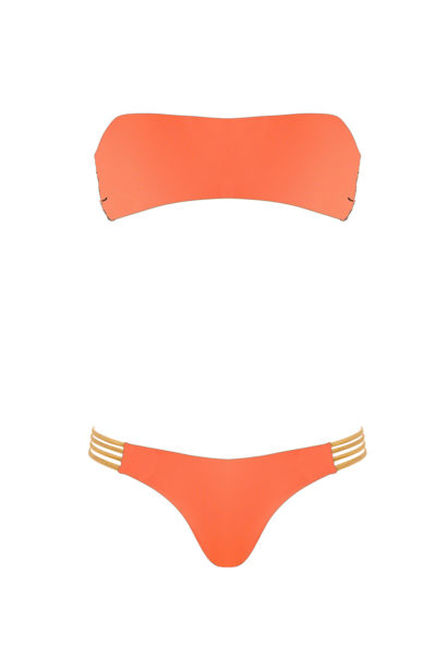bikini Beliza JANE bandeau ficelles orange or