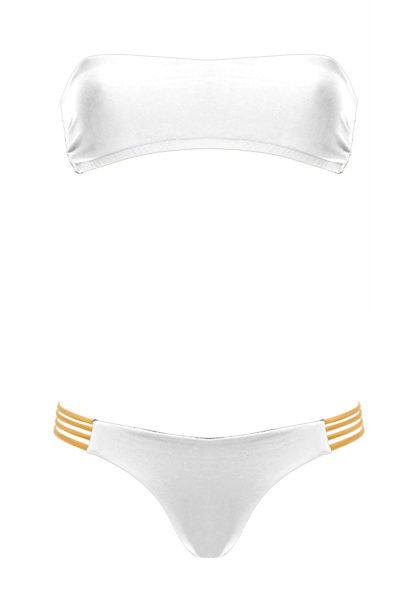 bikini Beliza JANE bandeau ficelles blanc or