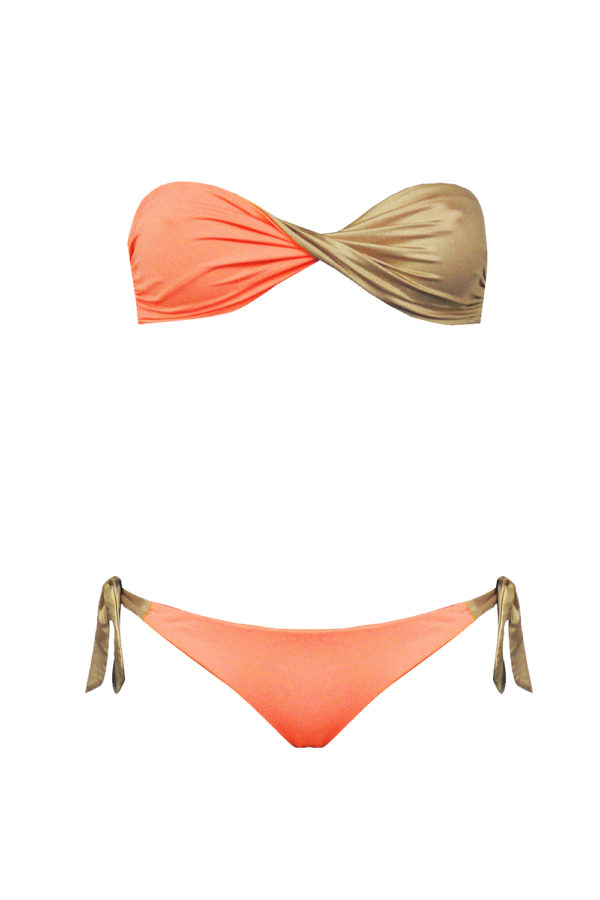 bikini Beliza JULIE bandeau réversible orange or