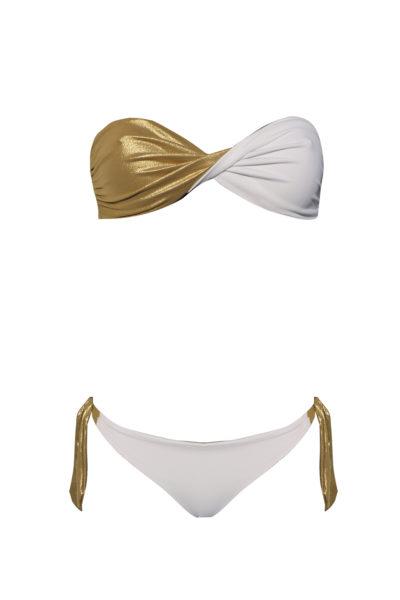 bikini Beliza JULIE bandeau réversible blanc or