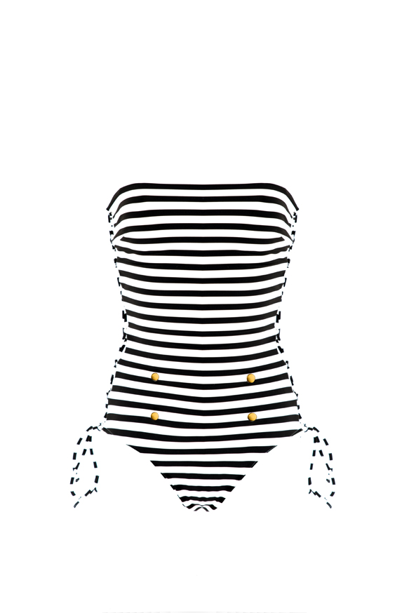 One piece bustier Beliza Yasmine black & white stripes
