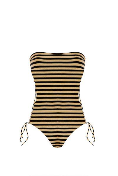 Yasmine Laces Black & Gold Stripes