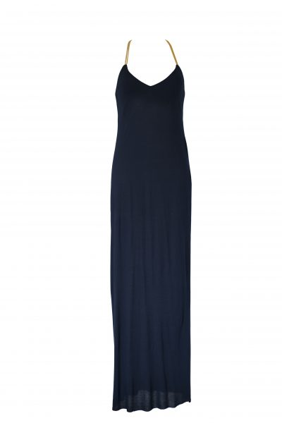 Doriane Long Dress Macramé Navy Gold
