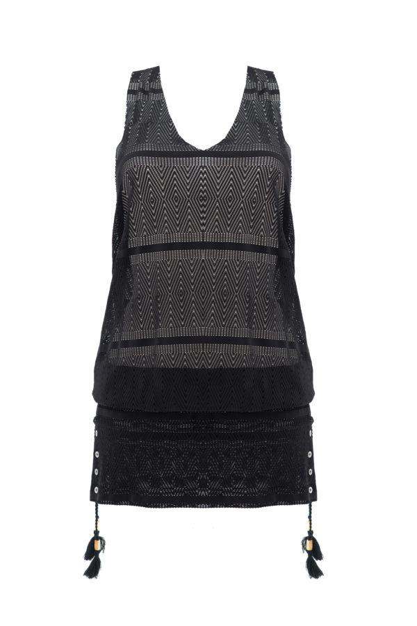 Isabelle Short Dress Crochet Black