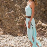 Doriane Long Dress Macramé Jade Gold