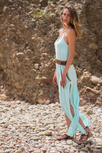 Doriane Long Dress Macramé Jade Gold