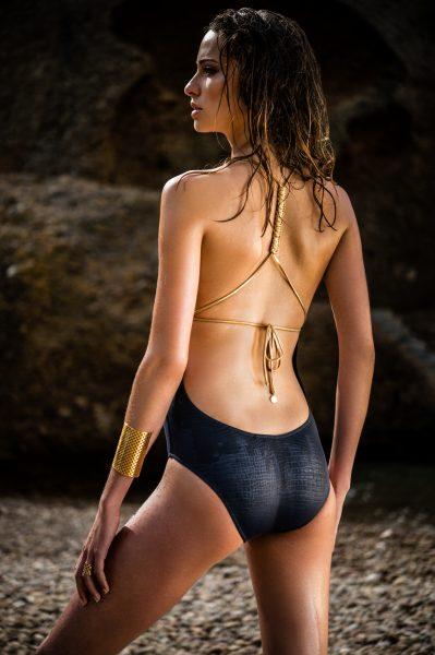 Tina Macramé Lézard navy gold