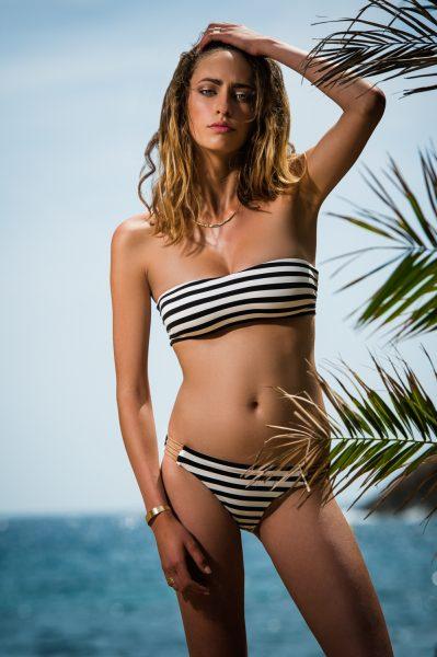 Jane Black & White Gold Stripes