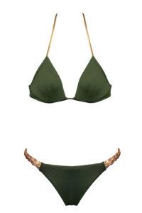 maillot de bain deux pièces kaki avec détails or et culotte avec tresses sur le coté