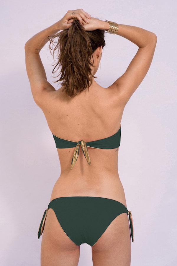 dos du maillot de bain deux pièces reversible a noeud réglable kaki gold
