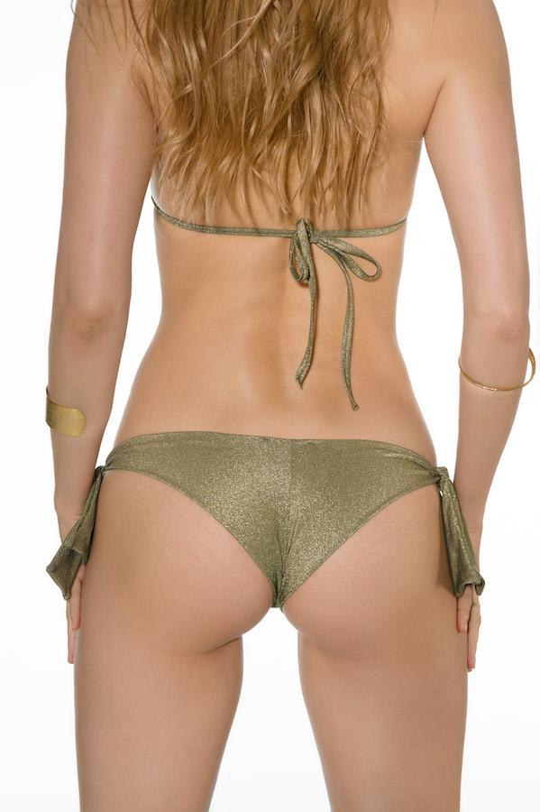 maillot de bain deux pièces réglables avec noeuds top et culotte gold kaki
