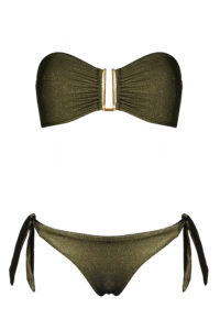 maillot de bain deux pièces gold kaki bandeau et culotte à noeud