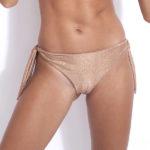 bas de maillot de bain tanga en poudre pailleté avec noeuds sur les côtés