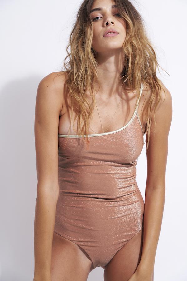 maillot de bain une pièce asymétrique sculptant en lurex anais poudre