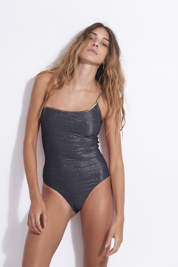 maillot de bain 1 pièce de luxe asymétrique gainant anais Navy lurex