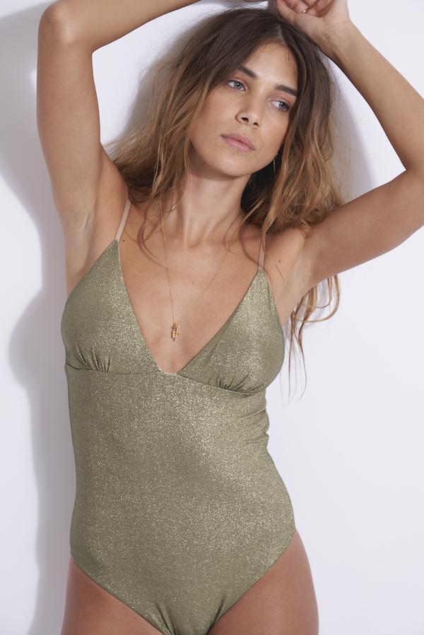 maillot de bain 1 pièce triangle dos nu avec décolleté grainant Tania gold kaki