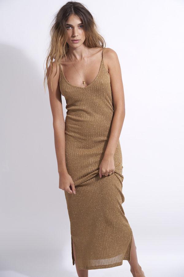 robe de plage longue en maille lurex gold