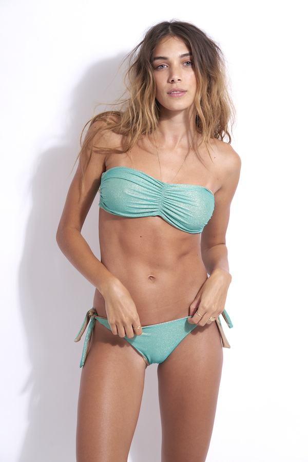 haut maillot de bain 2 pièces en vert Aqua bustier réversible tendance