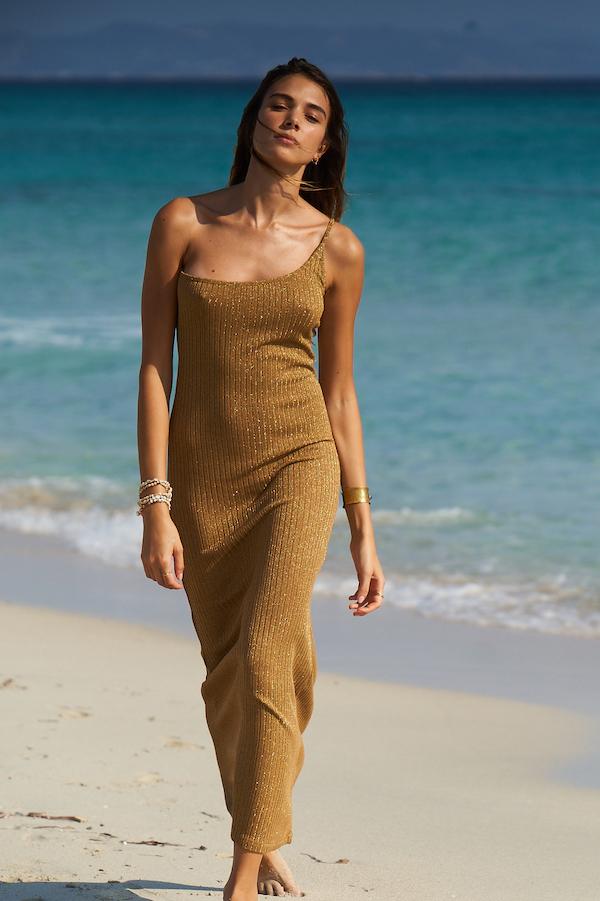 robe de plage longue en lurex gold asymétrique kat