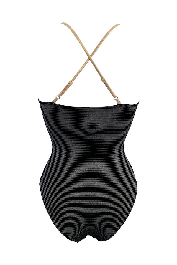 dos du maillot de bain 1 pièce femme tendance avec dos croisé en black stripe