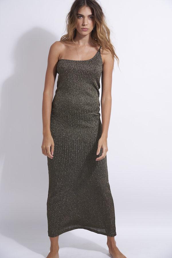 robe longue en lurex asymétrique Kate black