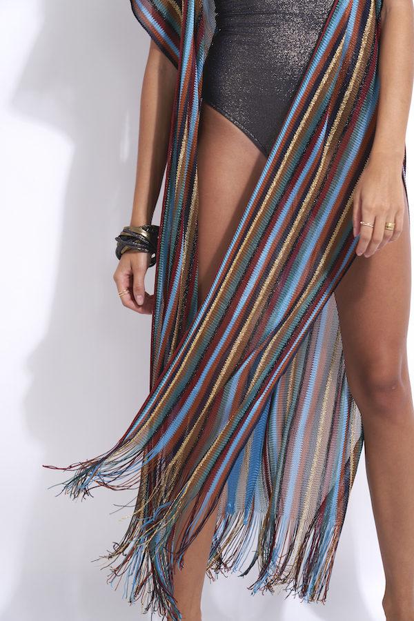 gilet de plage long en maille lurex multicolor avec fentes sur les côtés