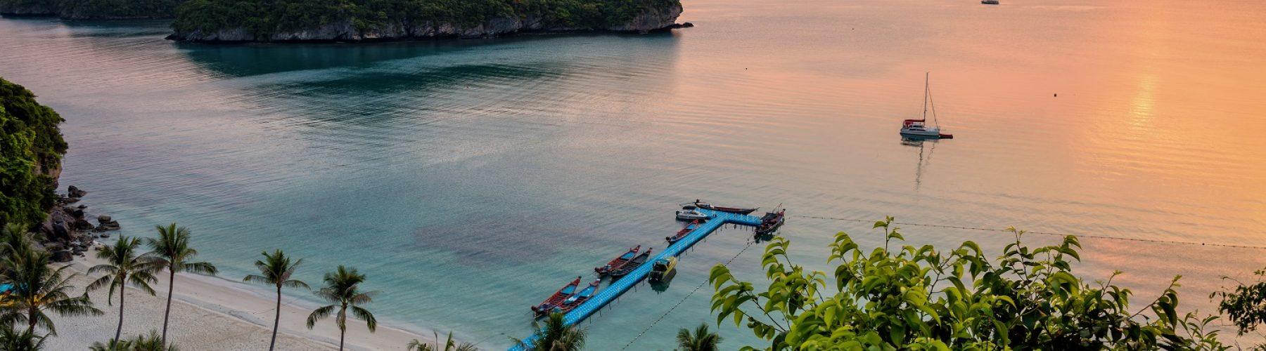 High angle view beautiful natural landscape of beach sea island and bridge pier for tourist at Ko Wua Ta Lap island during sunrise in Mu Ko Ang Thong National Marine Park, Surat Thani, Thailand